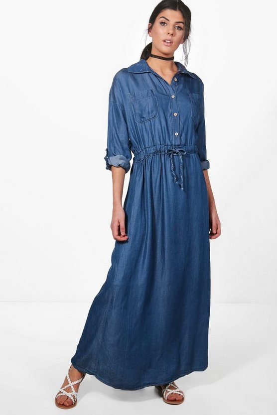 Katie Maxi Denim Shirt Dress