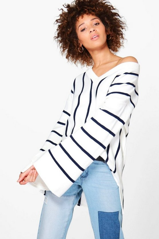 Justine Wide Sleeve Striped Oversized Jumper