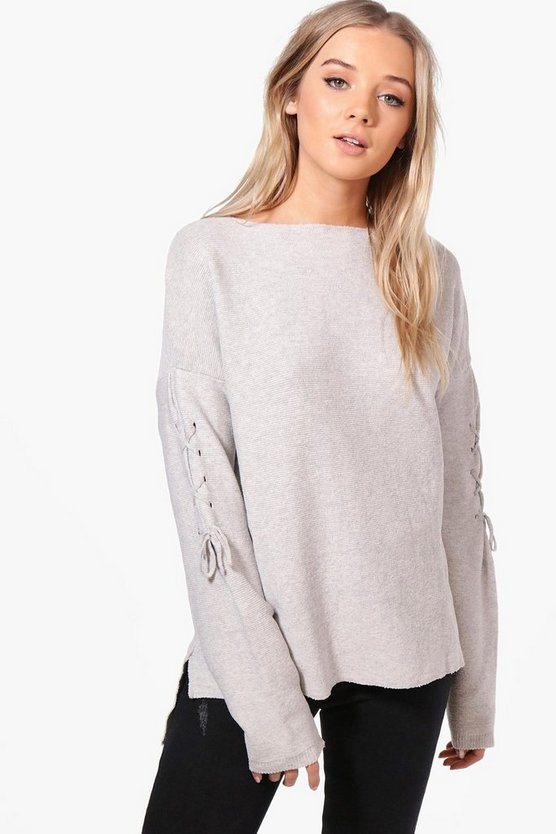 Penny Oversized Lace Up Sleeve Jumper