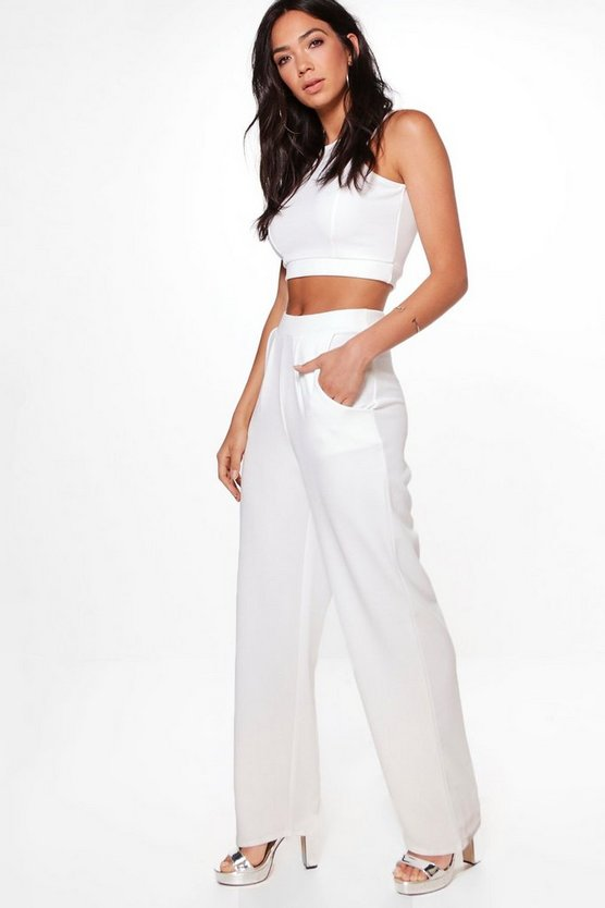 Alice Texture Crop & Wide Leg Trouser Co-Ord