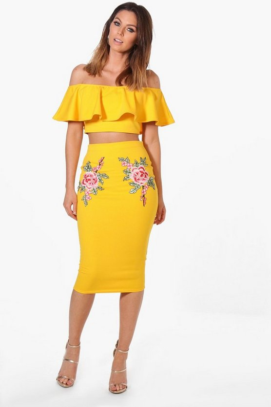 Paige Embroidered Frill Crop & Midi Co-ord Set