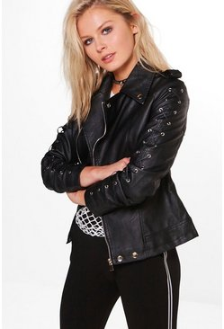 Ashleigh Lace Up Sleeve Faux Leather Biker Jacket