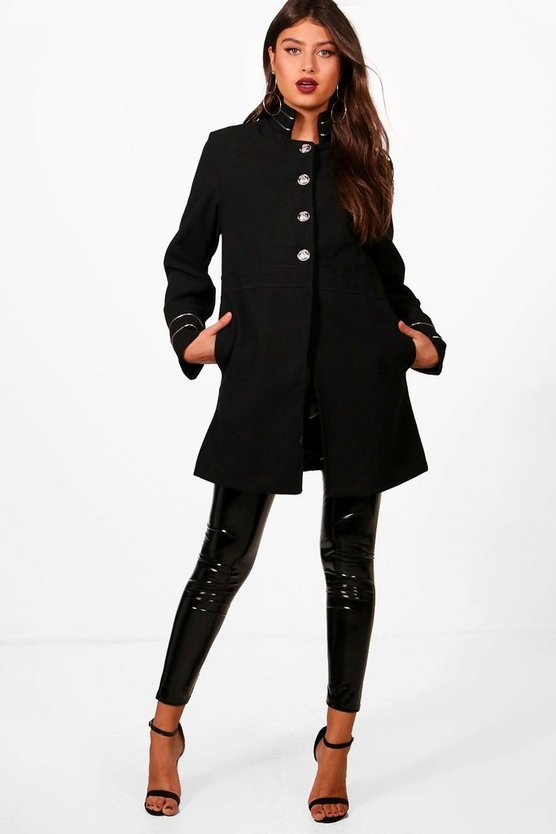 Rosie Military Wool Look Coat