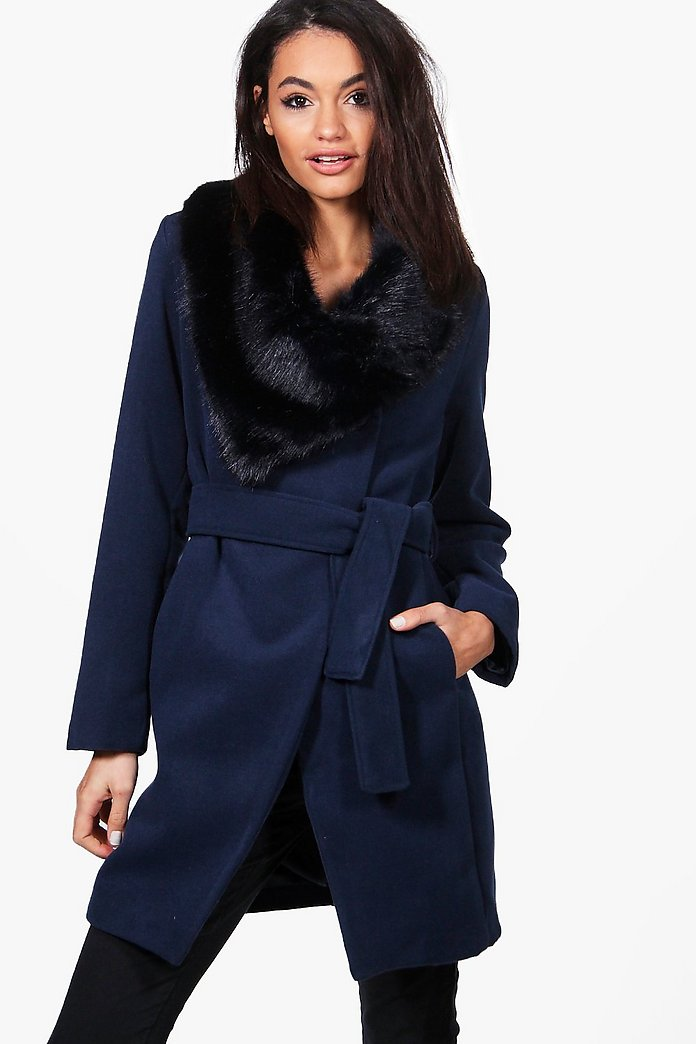 Caroline Faux Fur Collar Belted Coat