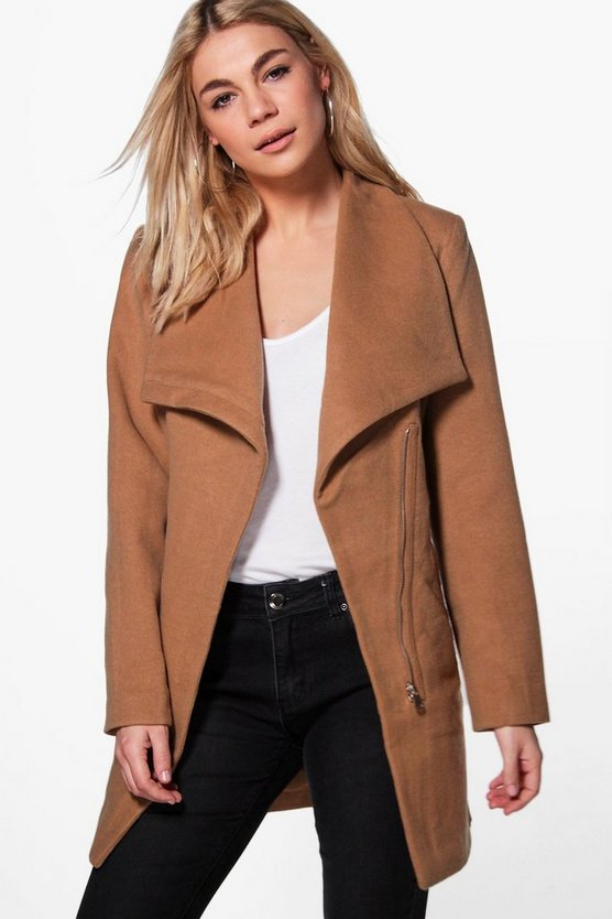 Alexis Wrap Belted Wool Look Coat