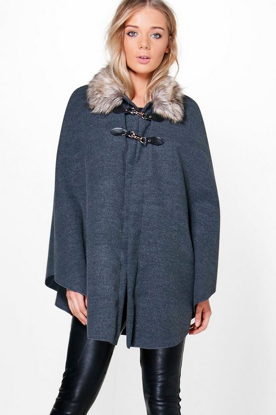 Julia Faux Fur Collar Wool Look Cape