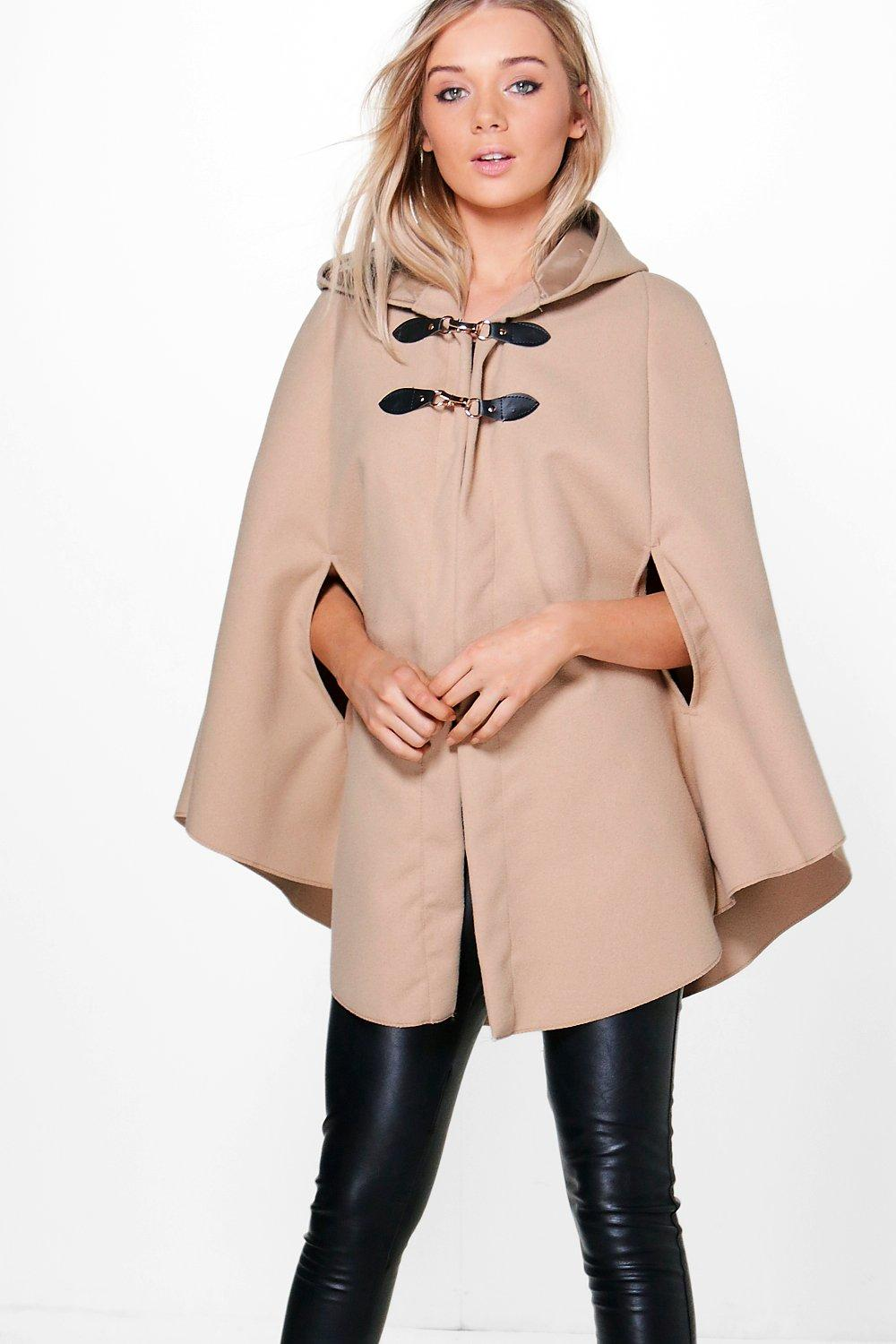 Hooded Wool Look Cape  camel