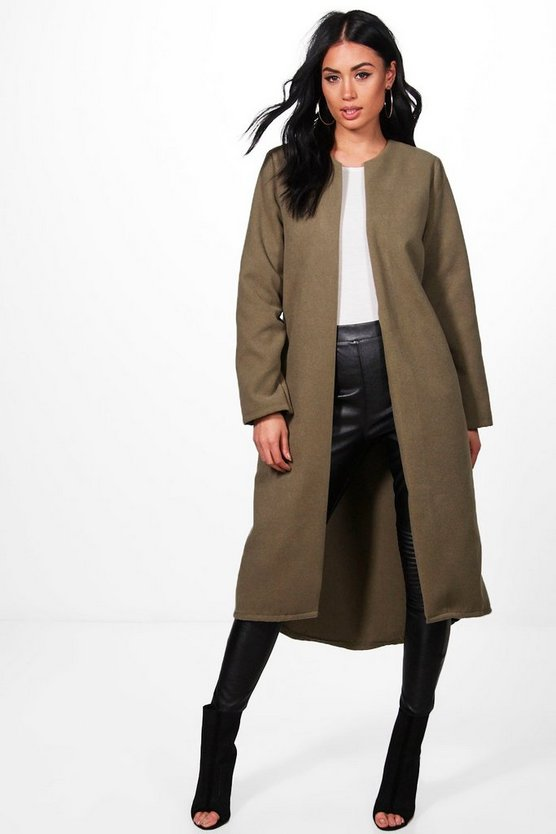 Danielle Collarless Edge To Edge Wool Coat