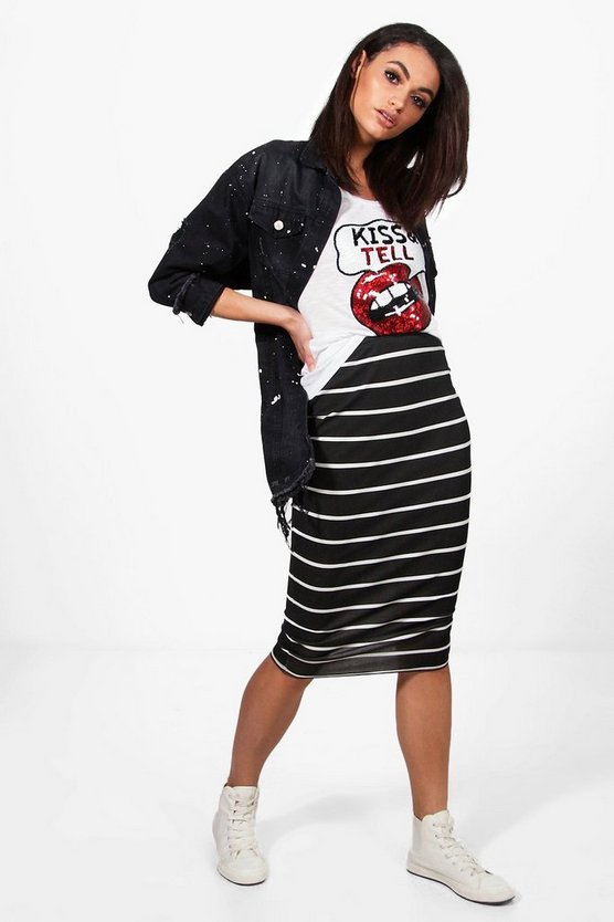 Aurora Monochrome Stripe Midi Skirt