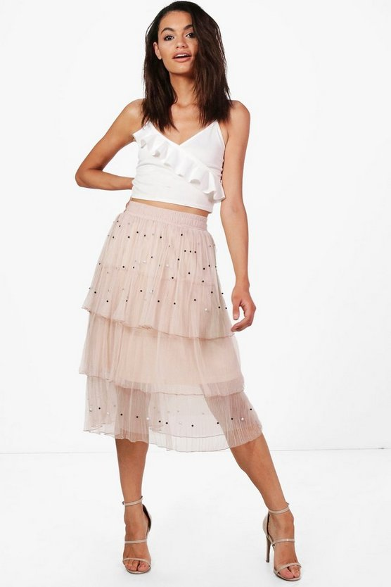 Boutique Farah Beaded Layered Tulle Skirt