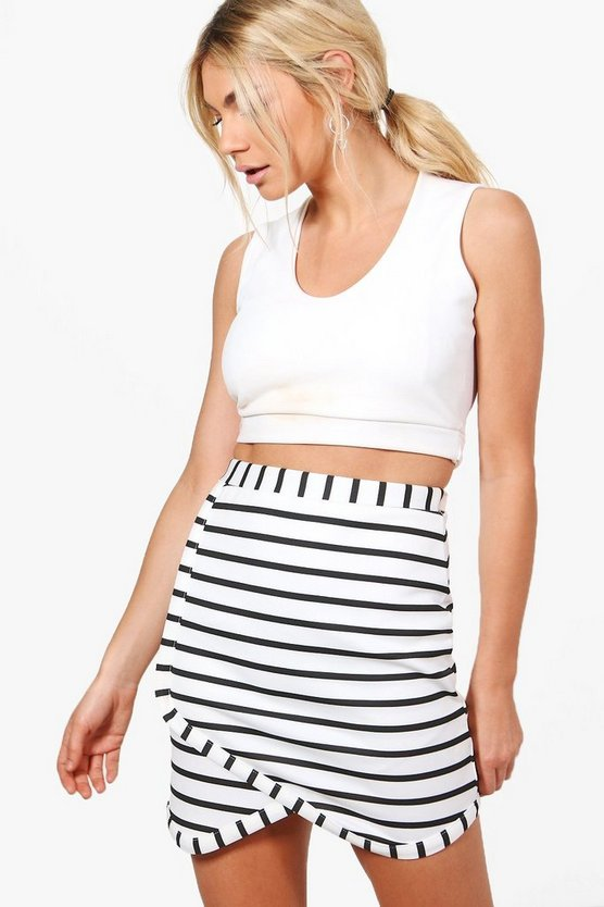 Freya Striped Asymetric Mini Skirt