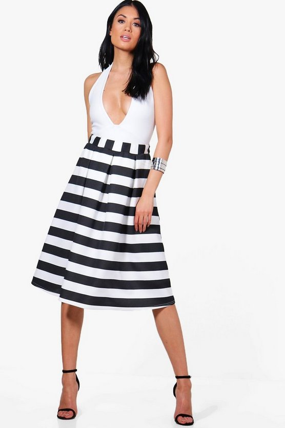 Darcie Box Pleat Striped Midi Skirt