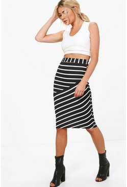 Sophie Monochrome Contrast Panel Stripe Midi Skirt