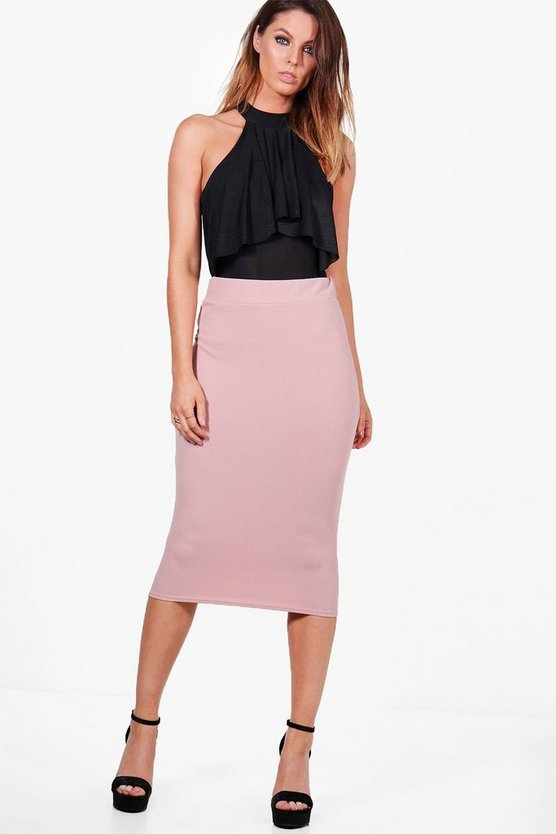 Bella Crepe Stretch Midi Skirt