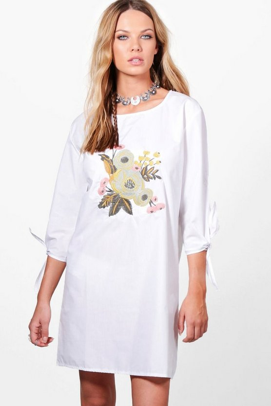 Gail Embroidery Tie Sleeve Shift Dress