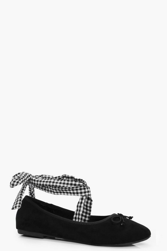 Emma Gingham Wrap Over Ankle Ballets