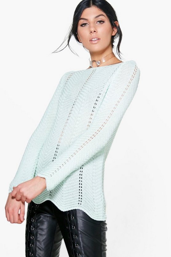 Abigail Fine Knit Slash Neck Jumper