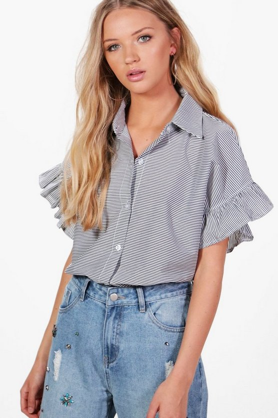 Niamh Stripe Ruffle Sleeve Tailored Shirt