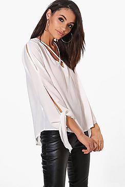 Esme Bluse aus Webmaterial mit Bindung und Riemchen - Boohoo.com