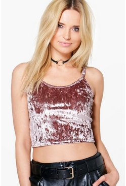 Yasmin Crushed Velvet Strappy Crop