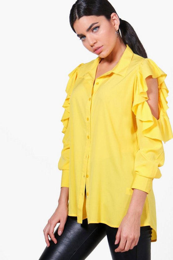 Lucy Ruffle Cold Shoulder Shirt