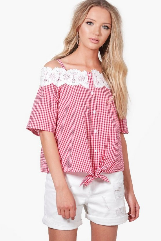 Ava Gingham Crochet Cold Shoulder Blouse
