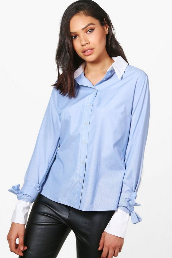 Sarah Tie Sleeve Striped Shirt