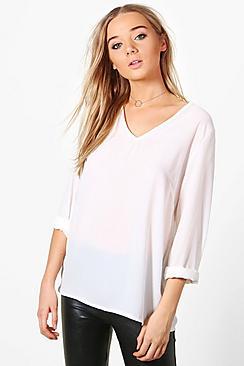 Hollie Bluse mit tief ausgeschnittenem Kragen - Boohoo.com