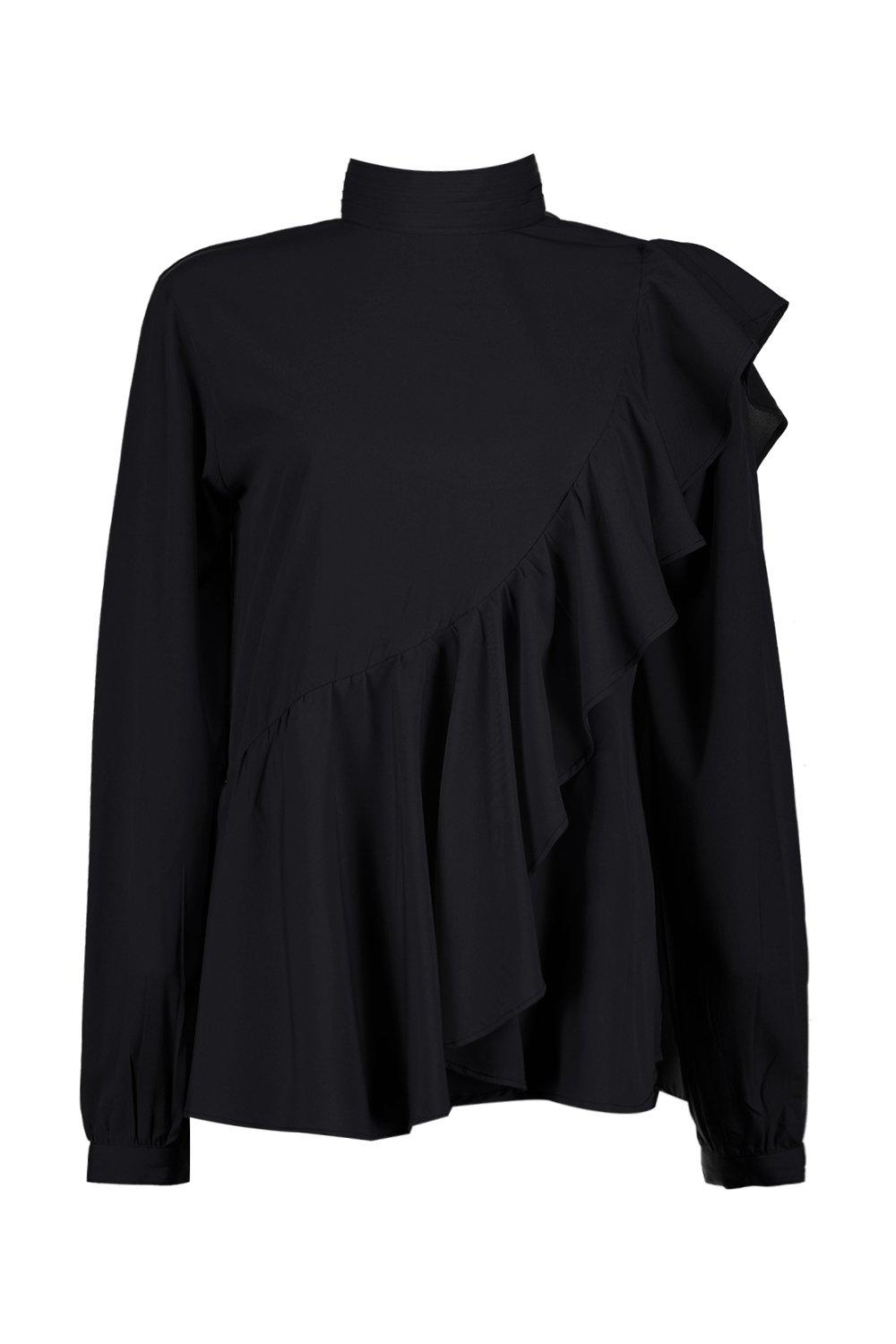 Boohoo-Willow-Blusa-A-Collo-Alto-Con-Volant-per-Donna
