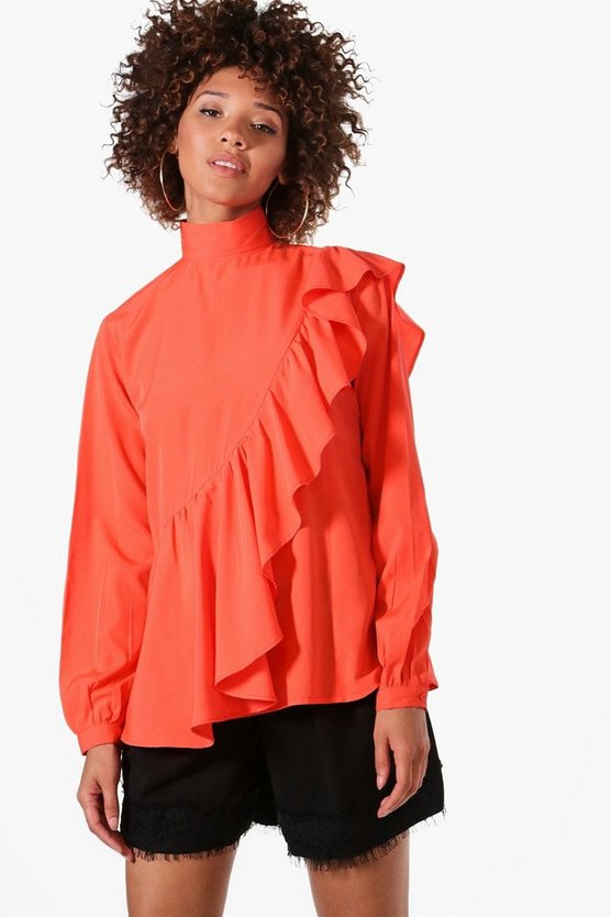 Willow High Neck Ruffle Blouse