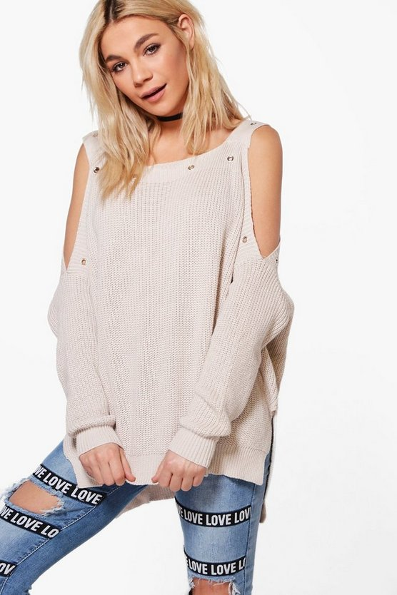 Isabelle Cold Shoulder Eyelet Jumper