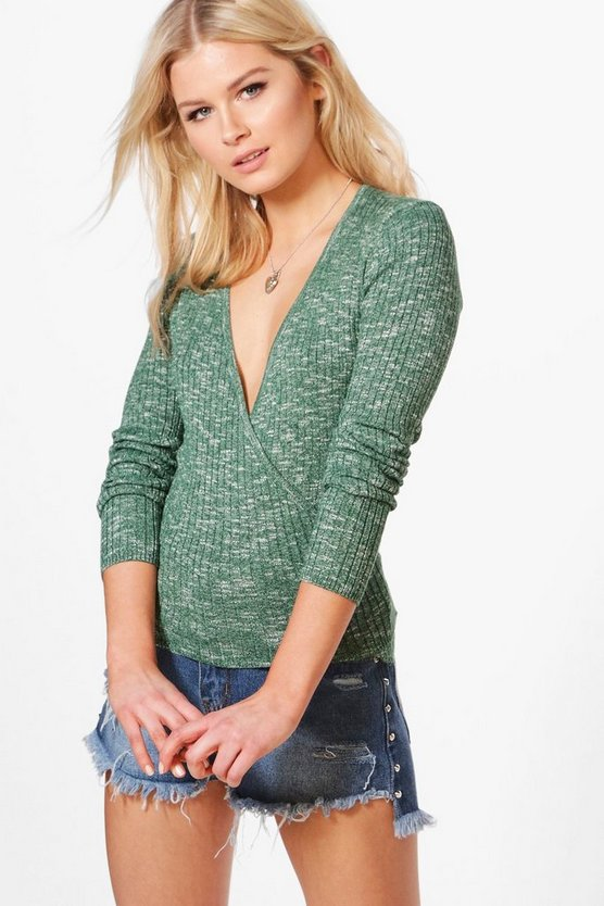Hannah Wrap Front Marl Knitted Top