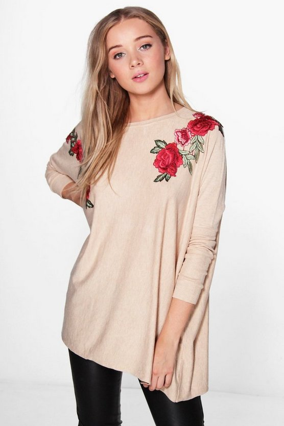 Emma Embroidery Knitted Batwing Top