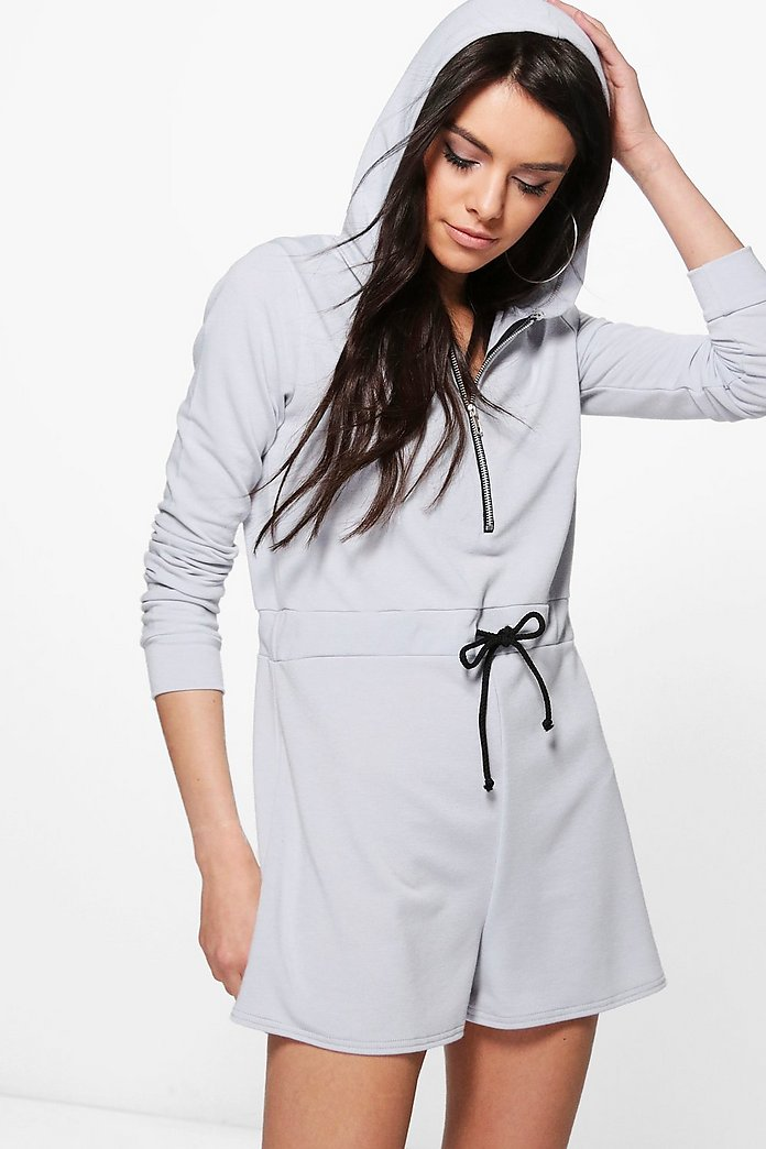 Peeny Hooded Drawstring Waist Sweat Playsuit
