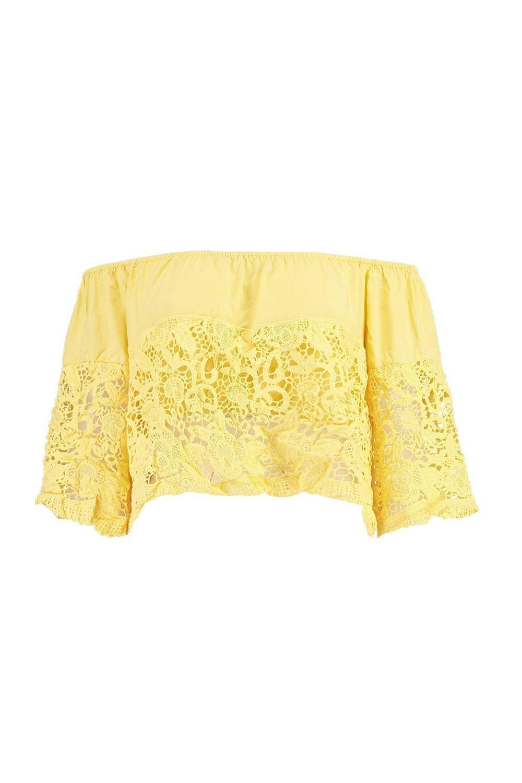 Boohoo-Top-Corto-Palabra-De-Honor-De-Crochet-Con-Volante-Erin-Boutique-para