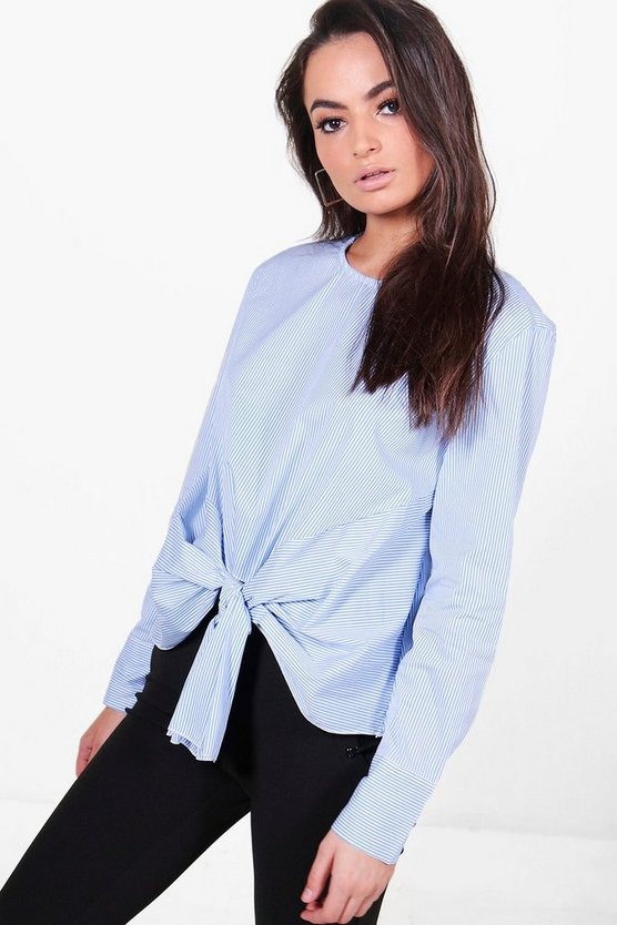 Charlotte Stripe Knot Front Long Sleeve Shirt