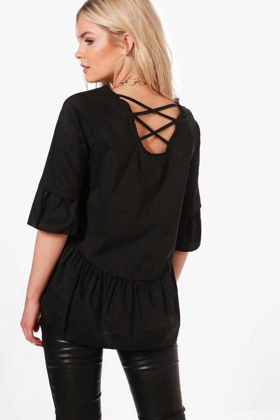 Anna Strappy Back Ruffle Hem Woven Top