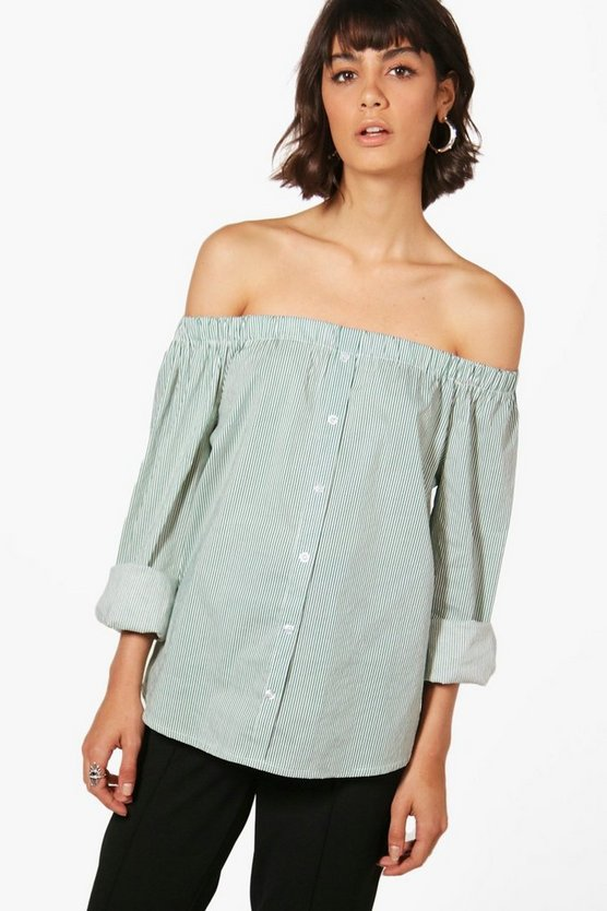 Kaitlin Stripe Off The Shoulder Shirt