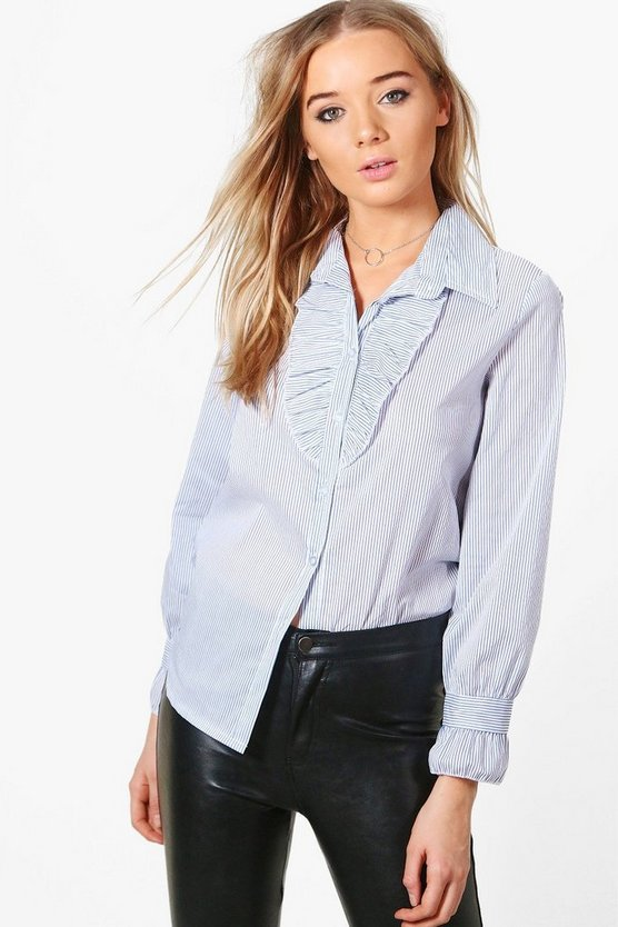 Natalie Neck and Cuff Ruffle Detail Tailored Shirt