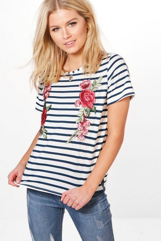 Amelia Embroidered Stripe T-Shirt