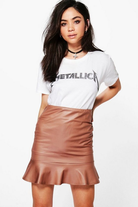 Beau Leather Look Peplum Mini Skirt