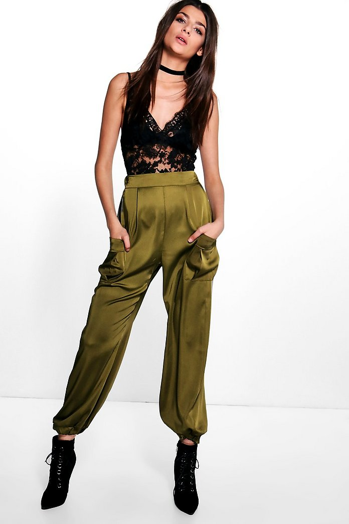 Mya Satin Pocket Side Luxe Joggers