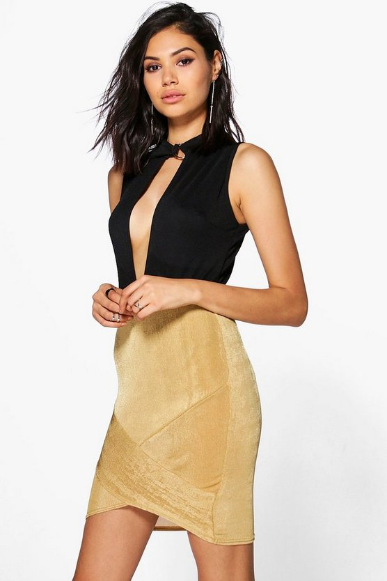 Lia Textured Slinky Wrap Front Mini Skirt