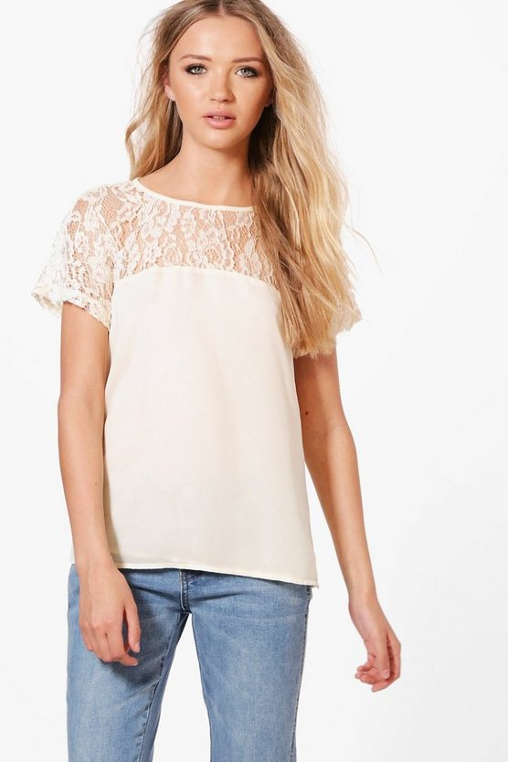 Maria Lace Yoke Woven Shell Top