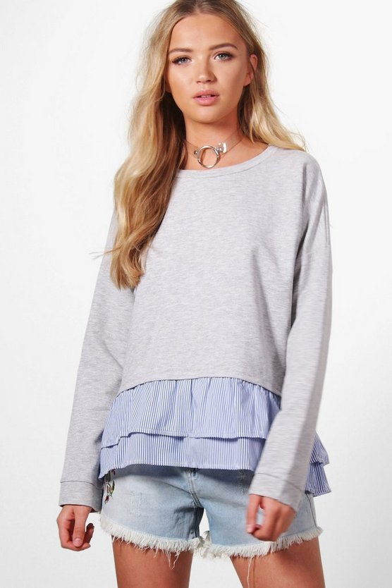 Zoe Stripe Frill Hem Sweat