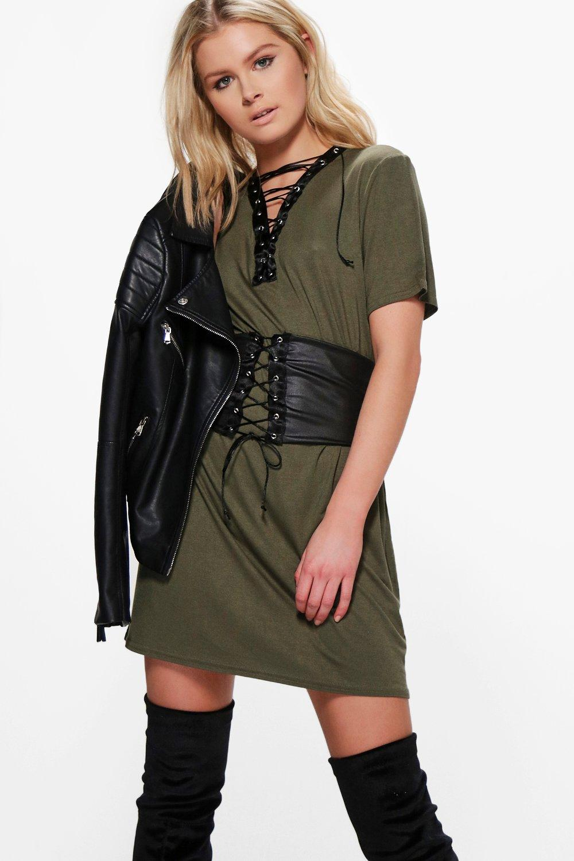 Lace Up Corset Belt 2 in 1 TShirt Dress  khaki