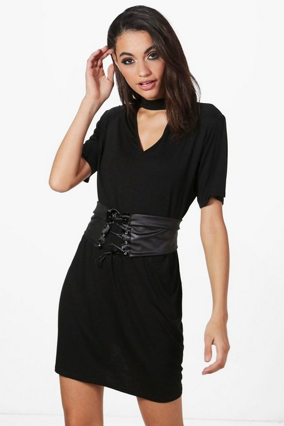 Hilary Choker Corset Belt 2 in 1 T-Shirt Dress
