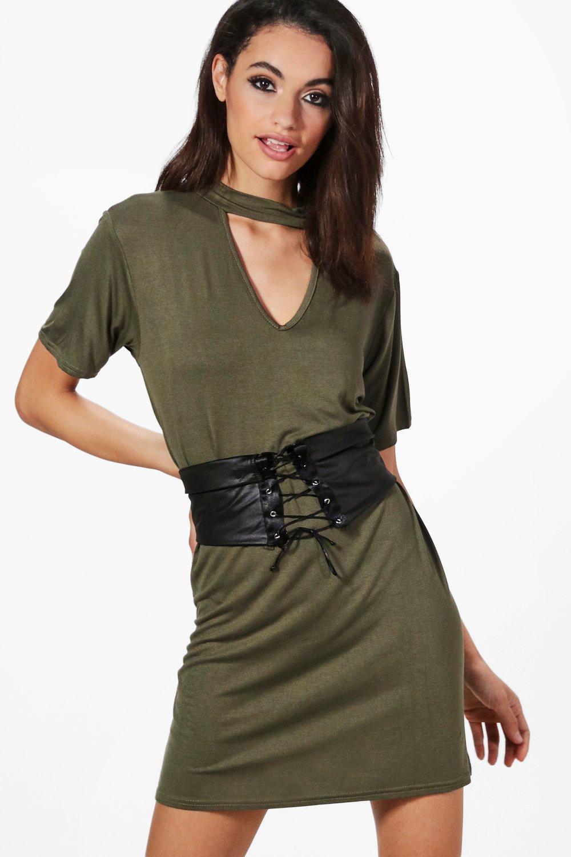 Choker Corset Belt 2 in 1 TShirt Dress  khaki