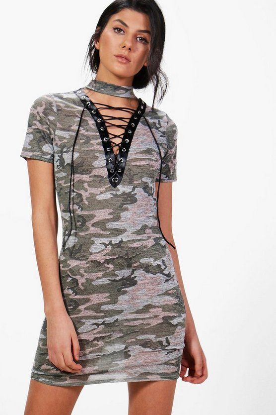 Zoe Lace Up Camo Choker Fine Knit Dress