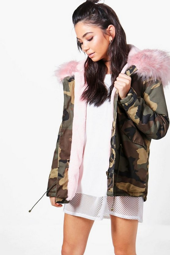 Sarah Short Camo Faux Fur Lined Parka